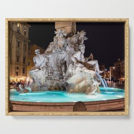 Four Rivers Fountain at night on Piazza Navona - Rome, Italy Serving Tray
