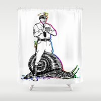 police Shower Curtains featuring Police and snail  by Antoine