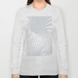 Pale Grey Tropical Leaves Long Sleeve T-shirt