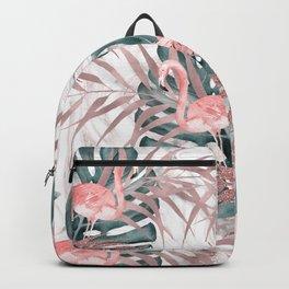 Flamingos & Leaves Marble Glam Backpack