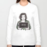 coconutwishes Long Sleeve T-shirts featuring Long Hair Don't Care by Coconut Wishes