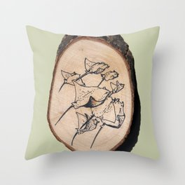 Devil Ray Wood Slice Throw Pillow