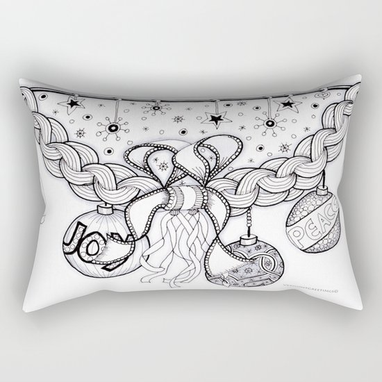 Christmas Zentangle Swag in Black and White for Adult Colorists Rectangular Pillow