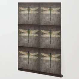 Dragonfly On Distressed Metallic Grey Background Wallpaper