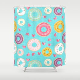 hearts and donuts blue Shower Curtain