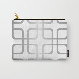 Silver Metallic Geometric Rounded Squares Carry-All Pouch