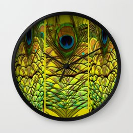 GREEN-YELLOW PEACOCK FEATHERS ART DESIGN Wall Clock