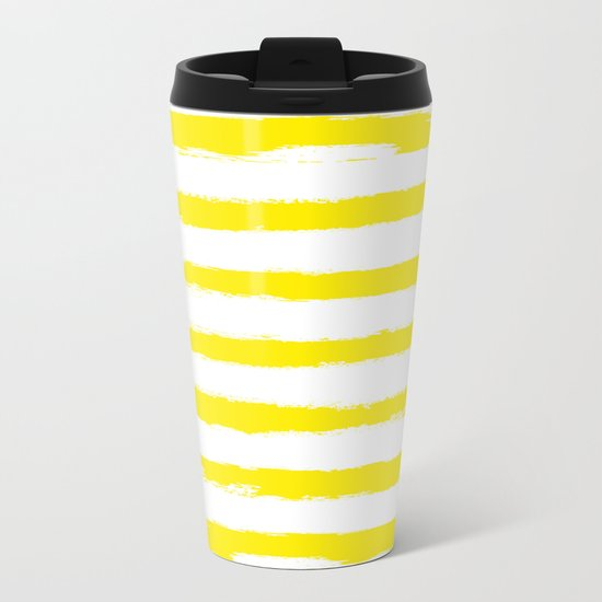 Sunny Yellow STRIPES Handpainted Brushstrokes Metal Travel Mug