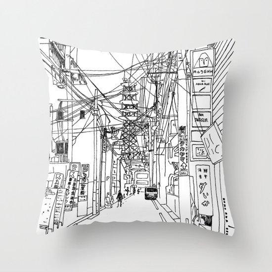 Osaka - downtown street Throw Pillow
