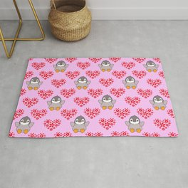 Cute happy cheerful little baby penguins cartoon red floral hearts hearts seamless baby pink pattern Rug