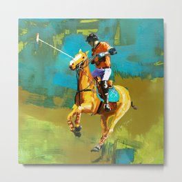 poloplayer abstract turquoise ochre Metal Print