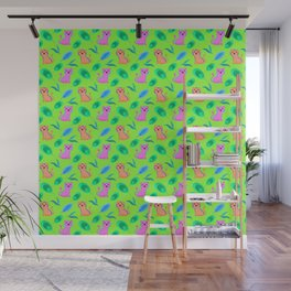 Cute little baby pink orange tigers tropical rainforest exotic green blue leaves jungle pattern Wall Mural