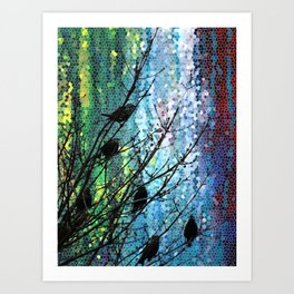 Birds of A Feather Abstract Digital Artwork by Mark Compton Art Print