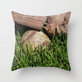 Baseball and Glove on Grass 2 Throw Pillow