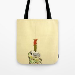 man listening something from the sky Tote Bag