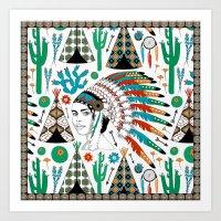 headdress Art Prints featuring Headdress by Vannina
