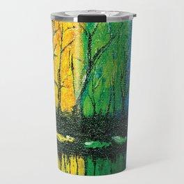 Rainbow Abstract Painting. Woods. Red Yellow Orange Green Blue Purple Travel Mug