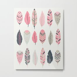 Coral Pink and Navy Boho Tribal Feathers Metal Print