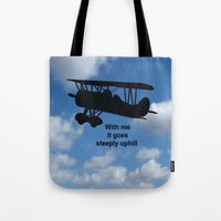 airplane Tote Bags featuring airplane by Karl-Heinz Lüpke