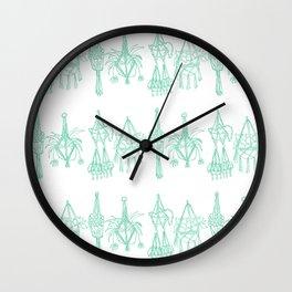 Macrame Plants - Mint on White Wall Clock