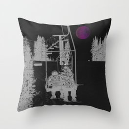 Inverted Ski Lift to the Moon Throw Pillow