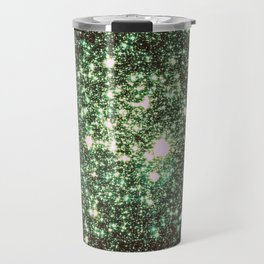 Green Gold Galaxy Sparkle Stars Travel Mug
