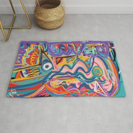 The Purple Kid with his Mother and the Bird Graffiti Art Expressionism Rug
