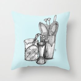 Bartender in turquoise Throw Pillow