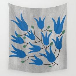 Blue Bell Flowers on Silver Background – Blue Bell – Scandinavian Folk Art Wall Tapestry