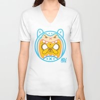 finn and jake V-neck T-shirts featuring Finn & Jake by Miguel Manrique