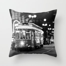 New Orleans Canal Street at Night Throw Pillow