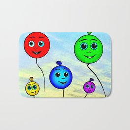 Happy colorful balloons flying in the sky Bath Mat