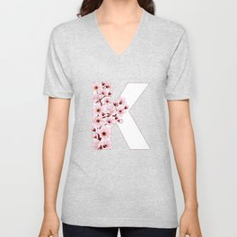 Colorful capital letter K patterned with sakura twig Unisex V-Neck