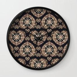 Black and Rose-Gold Valentine Mandala Heart Textile Wall Clock