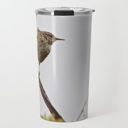 Wren Songbird Bird on Rusty Wire (Troglodytes) Travel Mug