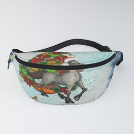Christmas, funny horse with christmas hat Fanny Pack