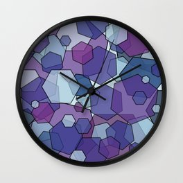 Converging Hexes - purple and blue Wall Clock