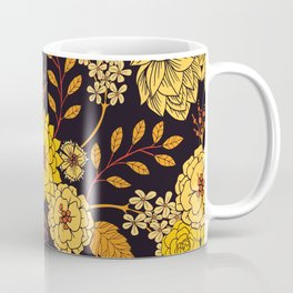 Yellow, Orange & Navy Blue Dark Floral Pattern Coffee Mug
