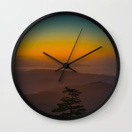 Pretty Pastel Yellow Red Green Sunset With Lone Pine Tree Silhouette Wall Clock