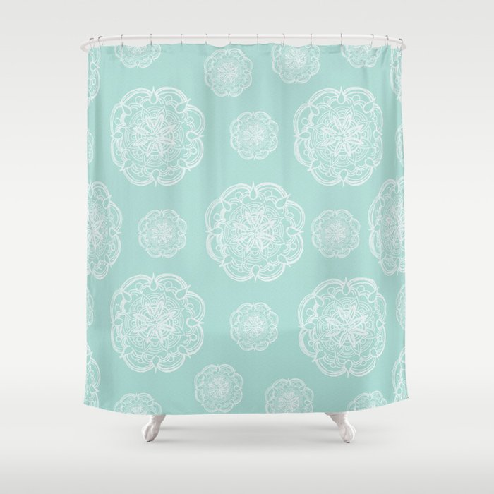 Mint Romantic Flower Mandala Pattern 2 Decor Art Society6 Shower Curtain