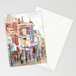Matinee, County Theatre, Doylestown, Pennsylvania. Watercolor painting by Pamela Parsons. Stationery Cards