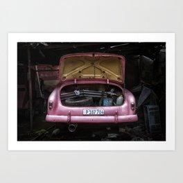 The Pink Cuban Car Art Print