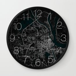 Phnom Penh City Map of Cambodia - Dark Grunge Wall Clock
