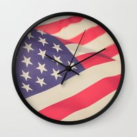 american flag Wall Clocks featuring American Flag by Leah M. Gunther Photography & Design