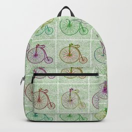 Penny Farthing Vintage Pastel Green Repeat Pattern Backpack