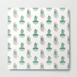 cactus green potted plant design Metal Print