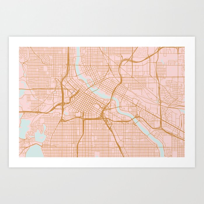 photograph about Printable Map of Minnesota titled Minneapolis map, Minnesota Artwork Print by means of annago