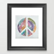 Feathers for Peace (Peace Sign) Framed Art Print