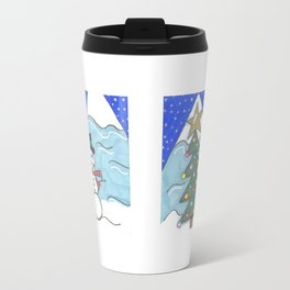 Snowman and Tree Doubled Travel Mug