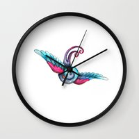 swallow Wall Clocks featuring Swallow  by Rebecca Jobling